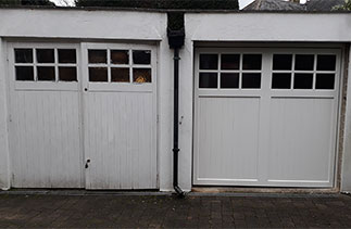The door on the right hand side is a bespoke Woodriet Cedar wood up and over garage door. Fitted in Blackwater, Surrey.