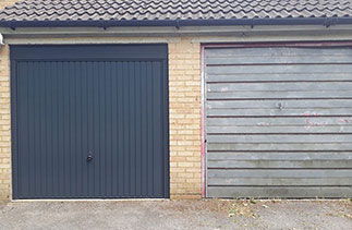A Garador steel range up and over garage door in the Carlton style. In Anthracite Grey with a Anthracite Grey steel frame and Anthracite pvc. Fitted in Sandhurst. Berkshire.