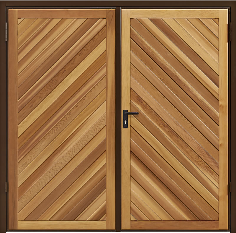 Garadoor Side Hinged Garage Doors - Chevron Cedar