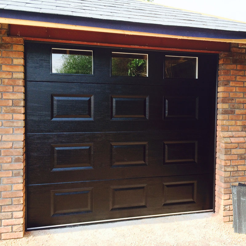 SWS SecuroGlide Sectional Garage Doors - Black Cassette and Windows