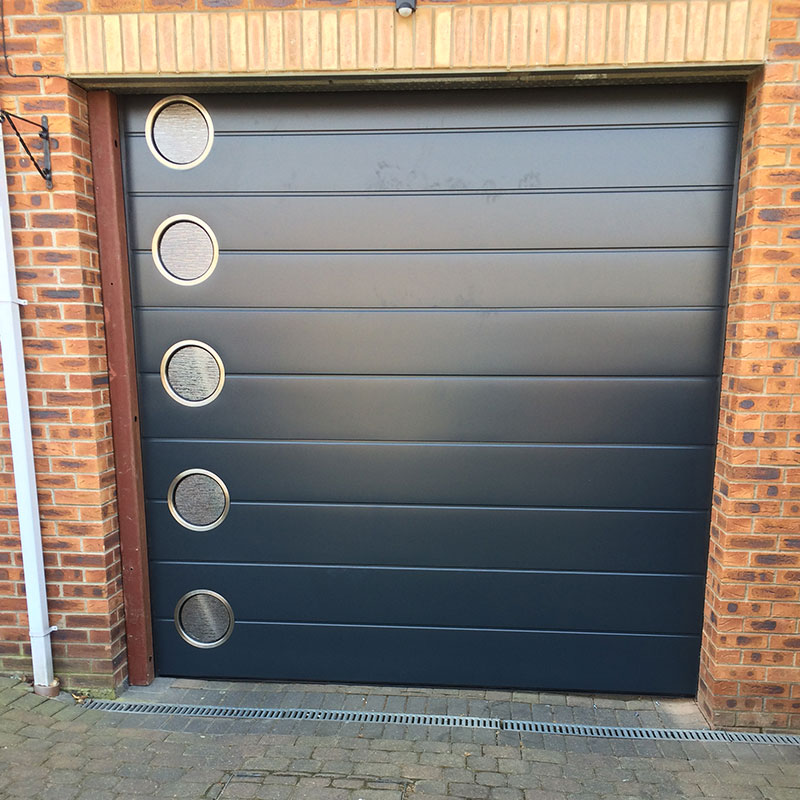 SWS SecuroGlide Sectional Garage Doors - Centre Rib Anthracite