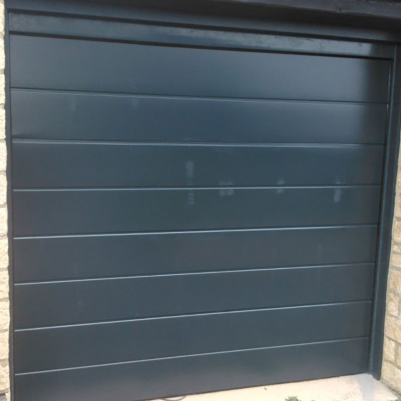 SWS SecuroGlide Sectional Garage Doors - Centre Rib Black (Front)