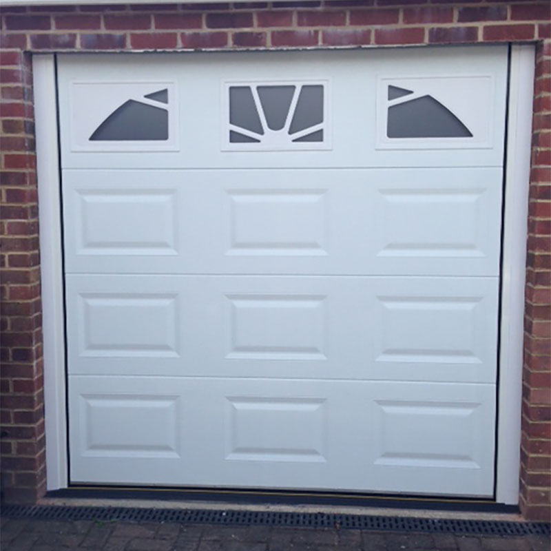SWS SecuroGlide Sectional Garage Doors - White Cassette Sunrise Windows