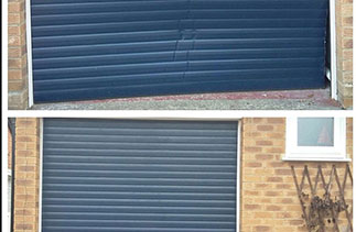 A before and after of a Gliderol insulated roller shutter garage door which required 12 new slats.