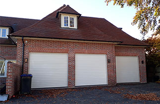 Three Hormann insulated sectional garage doors fitted in Beaconsfield, Buckinghamshire.